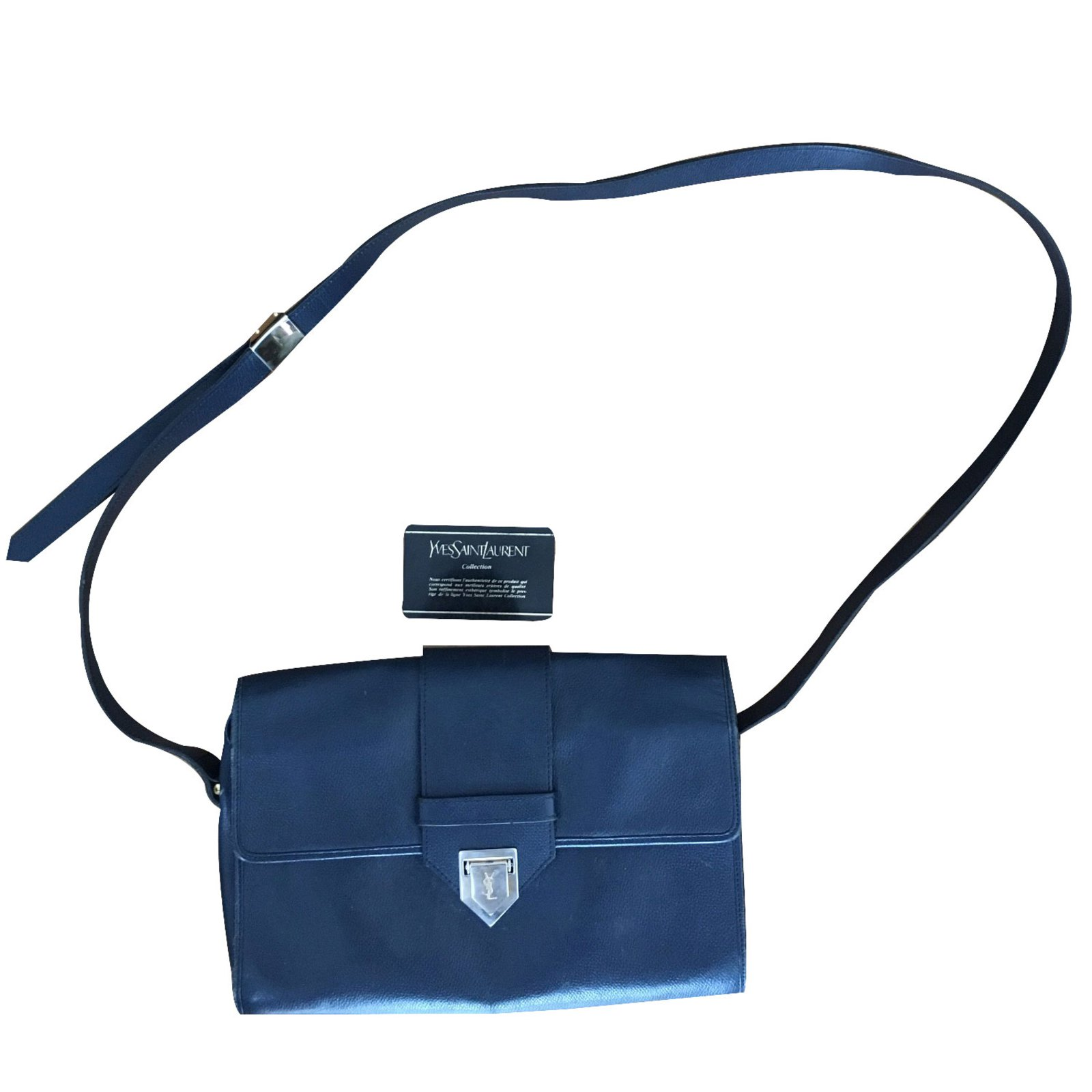 Yves Saint Laurent Handbag Handbags Leather Blue ref.24709 - Joli Closet 8f3ba44fe5